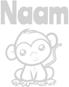geboortesticker met baby aapje
