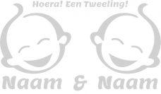 Raamsticker tweeling babygezicht